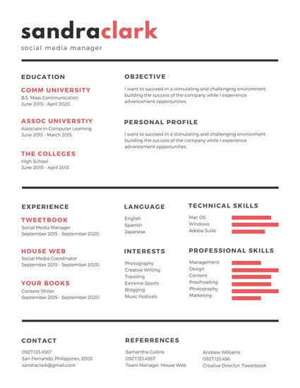 canva red black social media manager resume macg160rl_m - Social Media Manager Resume